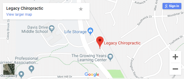 Map of Cary NC Chiropractors